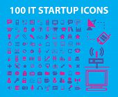 100 information technology, computer, network, monitor, satellite, mail, data icons, signs, illustrations set, vector