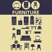 furniture, interior design, interior room icons, signs, illustrations set, vector
