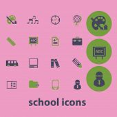 school, education, training, e-learning, study icons, signs, illustrations set, vector