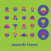 awards, victory, winner, emblem, medal, trophy icons, signs, illustrations set, vector