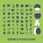 drink, food, vegetables, meat, cafe, restaurant, apple, eggs, cheese, bakery icons, signs, illustrations set, vector
