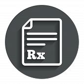 Medical prescription Rx sign icon. Pharmacy.