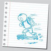 School kid on skateboard
