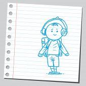 School kid with ear phones