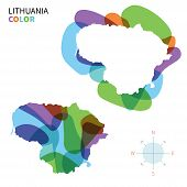 Abstract vector color map of Lithuania with transparent paint effect.