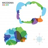 Abstract vector color map of Macedonia with transparent paint effect.