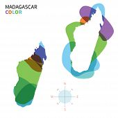 Abstract vector color map of Madagascar with transparent paint effect.