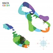 Abstract vector color map of Malta with transparent paint effect.
