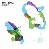 Abstract vector color map of Martinique with transparent paint effect.