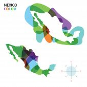 Abstract vector color map of Mexico with transparent paint effect.