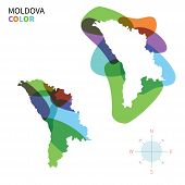 Abstract vector color map of Moldova with transparent paint effect.