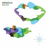 Abstract vector color map of Mongolia with transparent paint effect.