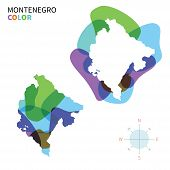 Abstract vector color map of Montenegro with transparent paint effect.