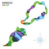 Abstract vector color map of Morocco with transparent paint effect.