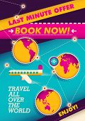 Traveling poster with colorful elements. Vector illustration.