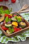 image of zucchini  - Grilled vegetables  salad with zucchini - JPG