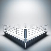 3d render illustration blank template layout of empty white boxing ring. Empty copy space to place your text, object, logo or photo boxers.