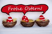 Three Red Easter Eggs With Comic Speech Balloon Frohe Ostern Means Happy Easter