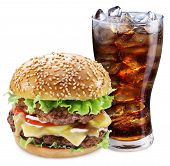 Hamburger and cola drink. Takeaway food. File contains clipping paths.