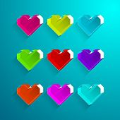 Colorful Heart Box Style.valentine Heart Symbol.vector Illustration