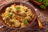 pilaf with meat and vegetables
