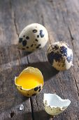 Quail eggs on old wood background