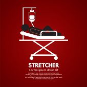 picture of stretcher  - Patient Lay Down On Stretcher Illustration - JPG