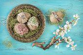 Vintage easter eggs on a blue wooden background