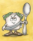 stock photo of toga  - Greek Yogurt Cartoon Character holding Spoon with Ocher Background - JPG