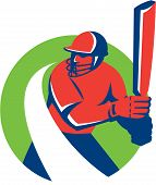 Cricket Player Batsman Batting Retro