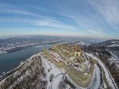 Aerial view on Visegrad castle in Hungary