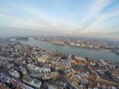 Aerial view on Budapest and Danube river