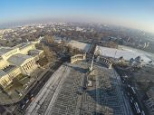 Aerial view on Heroes square in Budapest