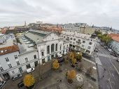 Old market in Bratislava as seen from above.