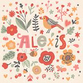 Bright card with beautiful name Alexis in poppy flowers, bees and butterflies. Awesome female name design in bright colors. Tremendous vector background for fabulous designs
