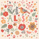 Bright card with beautiful name Alyssa in poppy flowers, bees and butterflies. Awesome female name design in bright colors. Tremendous vector background for fabulous designs