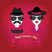 Hipster couple with hat and sunglasses on heart shape background
