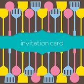 Utensils Pattern Invitation Card.