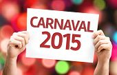Carnival 2015 (in Portuguese) card with colorful background with defocused lights