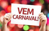Carnival is Coming (in Portuguese) card with colorful background with defocused lights
