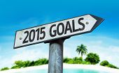 2015 Goals sign with a beach on background