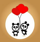 Panda lovers with red balloons