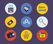 Set of flat design concept icons for technology security and data protection, search engine optimiza