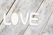 Paper Word Love On Wood Background