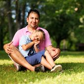 father and son portrait outdoors
