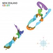 Abstract vector color map of New Zealand with transparent paint effect.