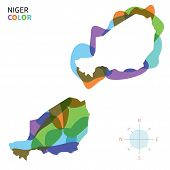 Abstract vector color map of Niger with transparent paint effect.