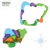 Abstract vector color map of Nigeria with transparent paint effect.