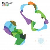 Abstract vector color map of Paraguay with transparent paint effect.