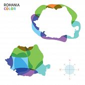 Abstract vector color map of Romania with transparent paint effect.